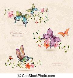 vendange, papillons, collection, peinture aquarelle, flowers.