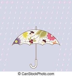 vendange, parapluie, pluie