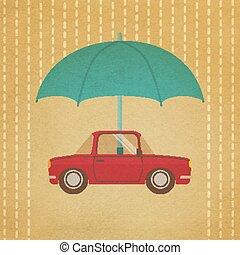vendange, parapluie, voiture, sous