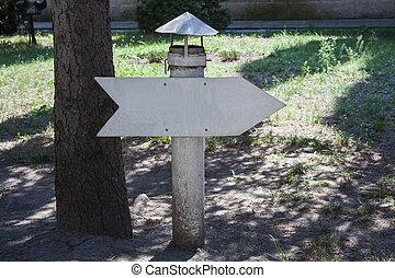 vendange, parc, métal, signe flèche