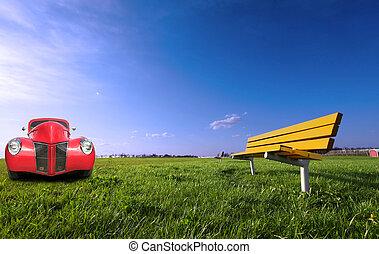 vendange, parc, voiture rouge