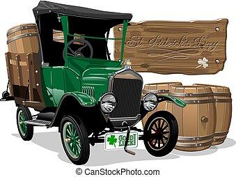 vendange, patrick's, bière, vecteur, camion, saint, dessin animé