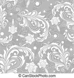 vendange, pattern., seamless, clair, vecteur, floral