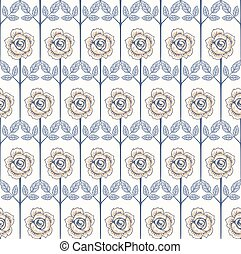 vendange, pattern., seamless, rose