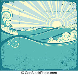 vendange, paysage, mer, waves., illustration