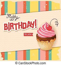 vendange, petit gâteau, réaliste, anniversaire, cerise, ligne, carte