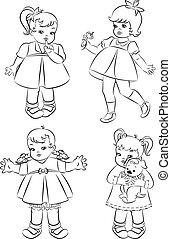 vendange, peu, girls., dessin animé