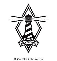 vendange, phare, logo., style., monochrome