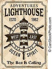 vendange, phare, vecteur, nautique, affiche