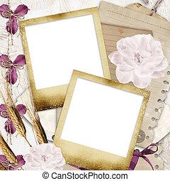 vendange, photoframe, mémoires, -