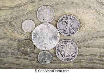 vendange, pièces, argent
