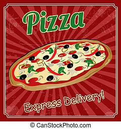 vendange, pizza, affiche
