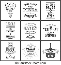 vendange, pizza, typographique, ensemble, citations