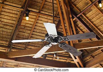 vendange, plafond, bois, ventilateur