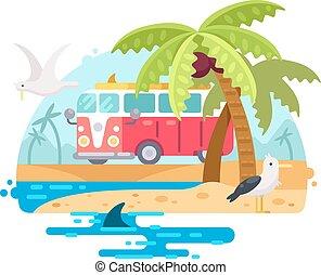 vendange, planche surf, autobus