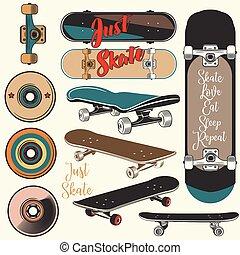 vendange, planches roulettes, vecteur, style.eps, collection