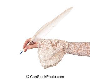 vendange, plume, main, penne, écriture