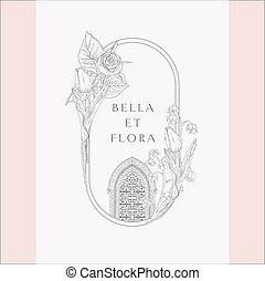 vendange, portail, vecteur, florals, logo