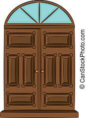 vendange, porte, interior.