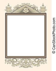vendange, porte-photo, décoratif, vect