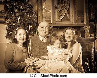 vendange, portrait, famille heureuse, noël