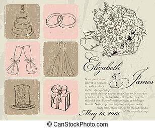 vendange, poster., mariage