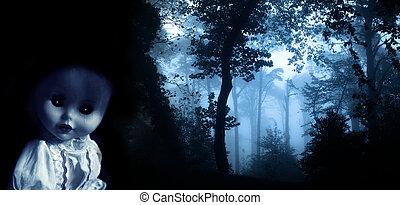 vendange, poupée, spooky
