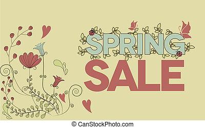vendange, printemps, vente, conception, affiche, message, fleurs