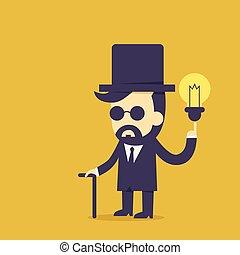 vendange, projection, idée, homme affaires