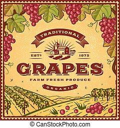 vendange, raisins, étiquette