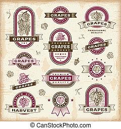 vendange, raisins, étiquettes, ensemble