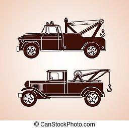 vendange, remorquage, camions