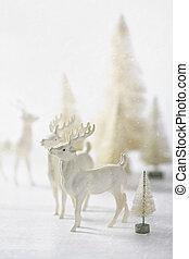 vendange, renne, décorer, ornements, noël