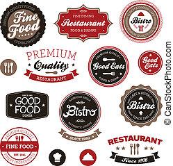 vendange, restaurant, étiquettes
