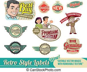 vendange, retro, étiquettes