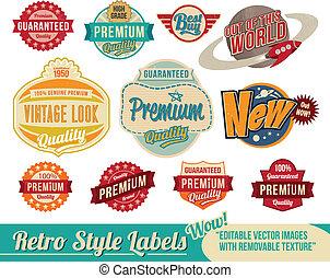 vendange, retro, étiquettes, et, étiquettes