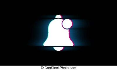 vendange, retro, icône, signe, glitch, reveil, symbole, animation., alerte, cloche