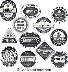 vendange, retro, insignes, et, étiquettes, ensemble