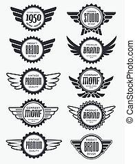 vendange, retro, insignes, et, étiquettes