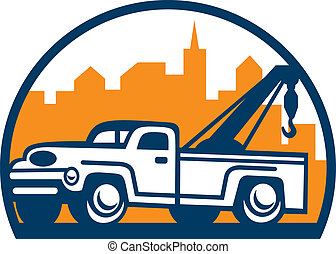 vendange, retro, wrecker, camion, remorquage