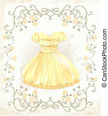 vendange, robe, jaune, étiquette