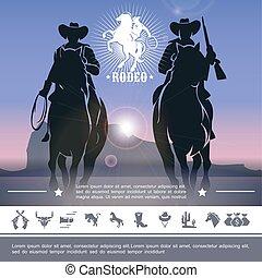 vendange, rodéo, concept, cow-boy
