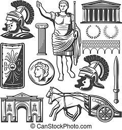 vendange, romain, éléments, ensemble, empire