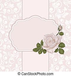 vendange, rose., élégant, fond, orné, carte