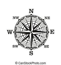 vendange, rose compas, vecteur, nautique, vent