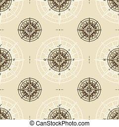 vendange, rose, nautique, seamless, compas, modèle