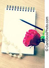 vendange, rose rouge, et, vide, diary.