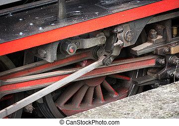 vendange, roues,  train, vapeur