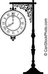 vendange, rue, horloge