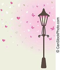 vendange, rue, lanterne